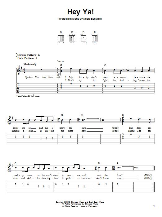 Tablature guitare Hey Ya! de Outkast - Tablature guitare facile