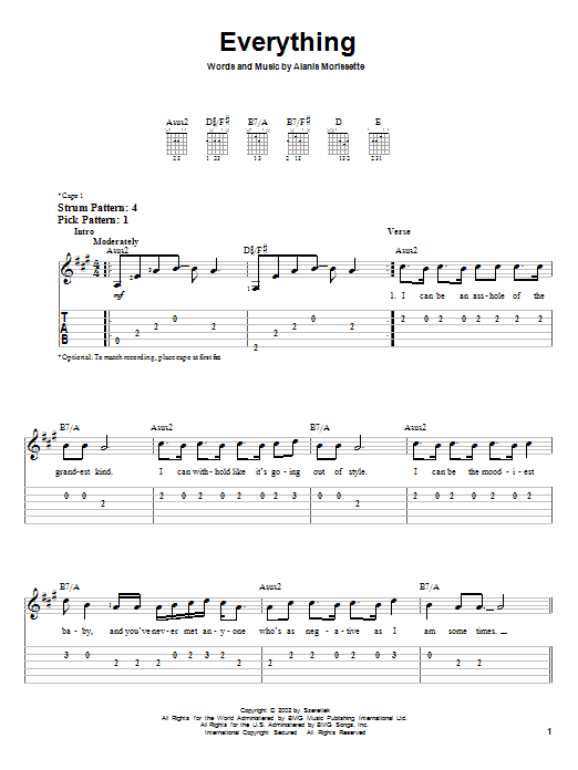 Tablature guitare Everything de Alanis Morissette - Tablature guitare facile