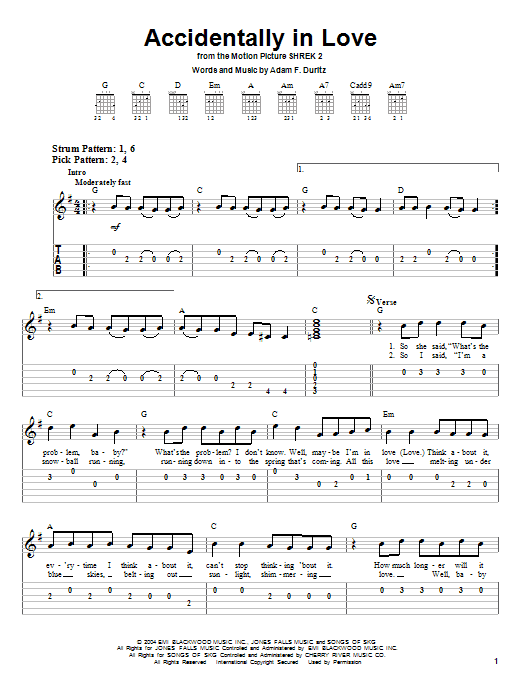 Tablature guitare Accidentally In Love (from Shrek 2) de Counting Crows - Tablature guitare facile