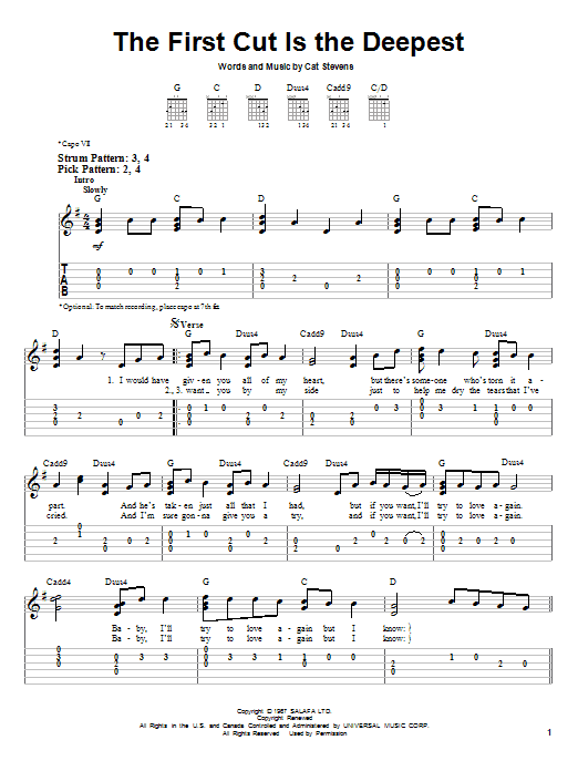 Tablature guitare The First Cut Is The Deepest de Rod Stewart - Tablature guitare facile