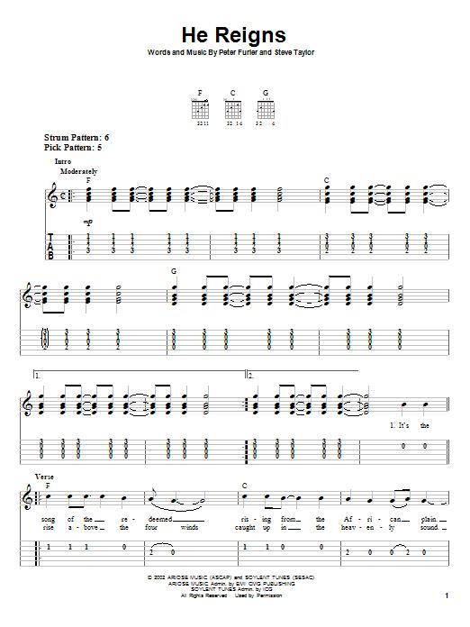 Tablature guitare He Reigns de Newsboys - Tablature guitare facile