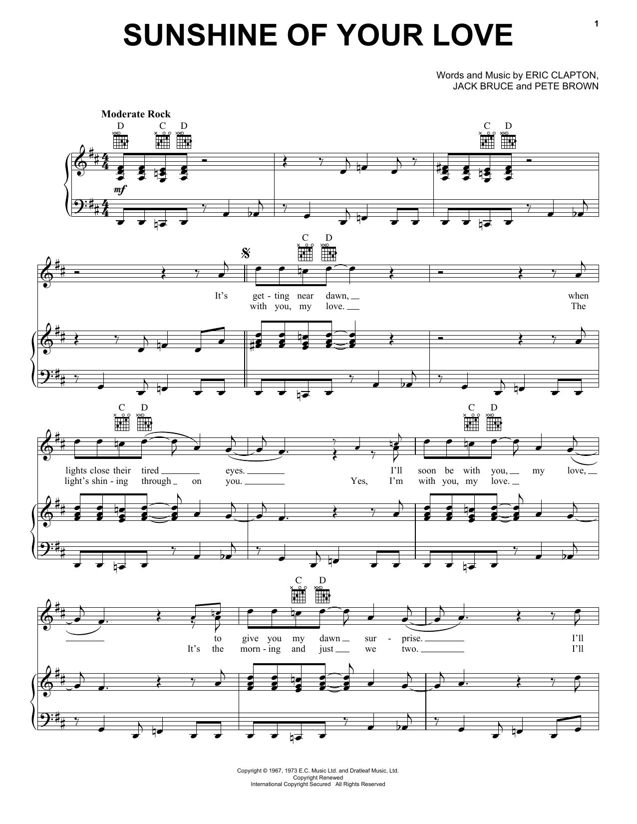 Partition piano Sunshine Of Your Love de Cream - Piano Voix Guitare (Mélodie Main Droite)