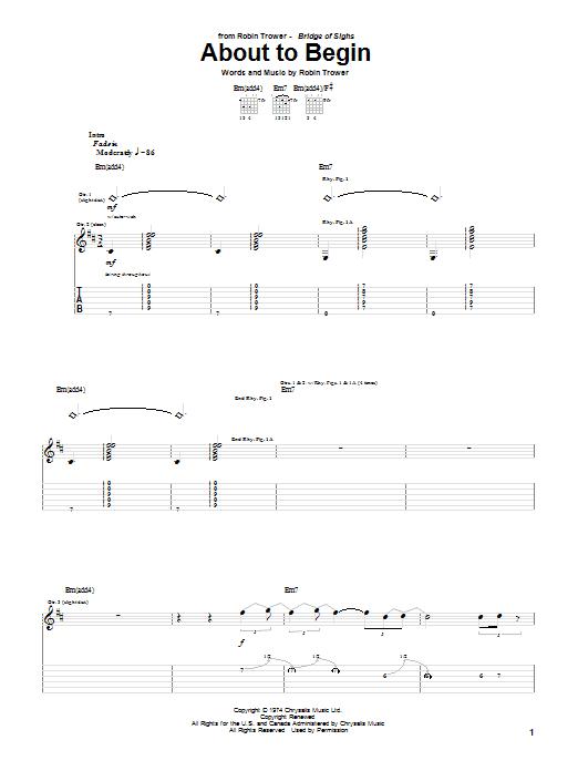 Tablature guitare About To Begin de Robin Trower - Tablature Guitare