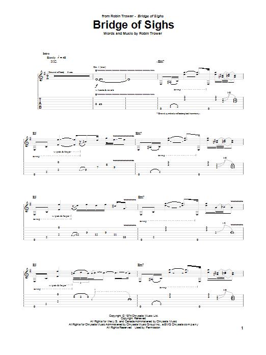 Tablature guitare Bridge Of Sighs de Robin Trower - Tablature Guitare