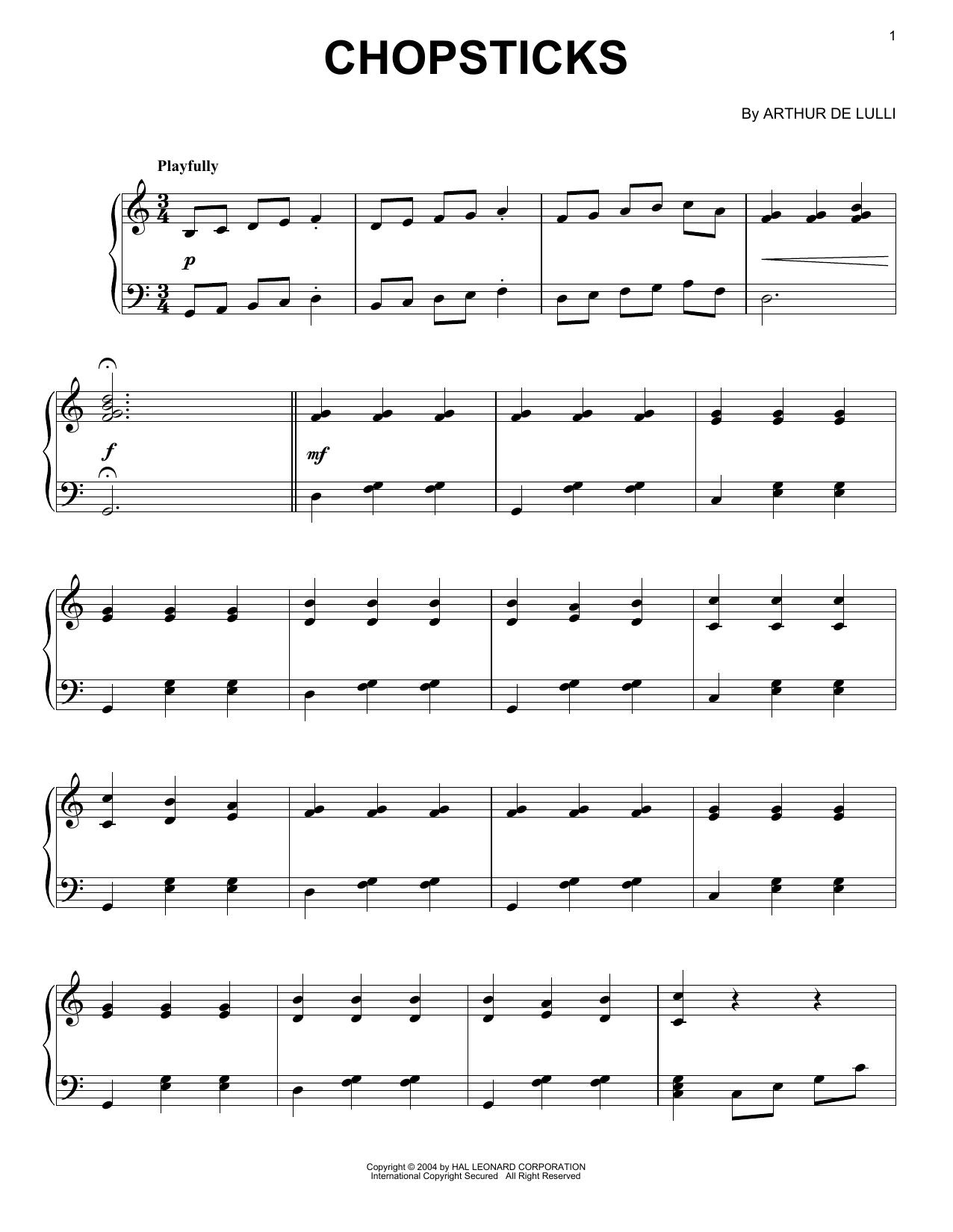 Partition piano Chopsticks de Arthur de Lulli - Piano Solo