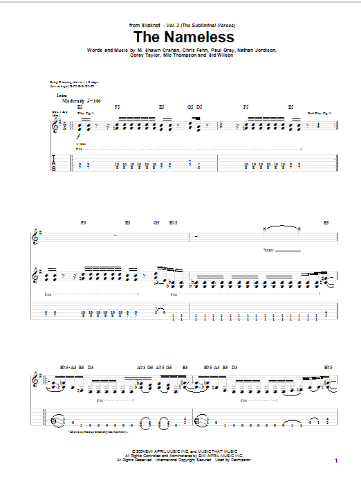 Tablature guitare The Nameless de Slipknot - Tablature Guitare