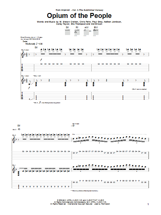 Tablature guitare Opium Of The People de Slipknot - Tablature Guitare