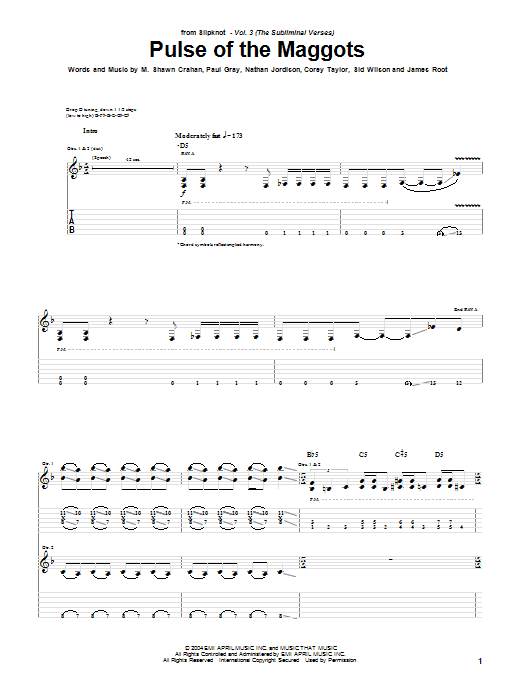 Tablature guitare Pulse Of The Maggots de Slipknot - Tablature Guitare