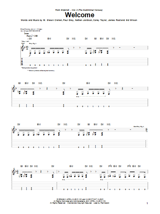 Tablature guitare Welcome de Slipknot - Tablature Guitare