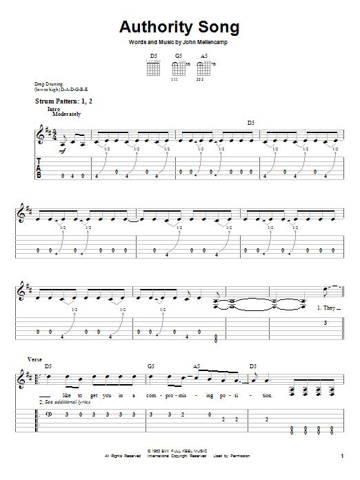 Tablature guitare Authority Song de John Cougar Mellencamp - Tablature guitare facile