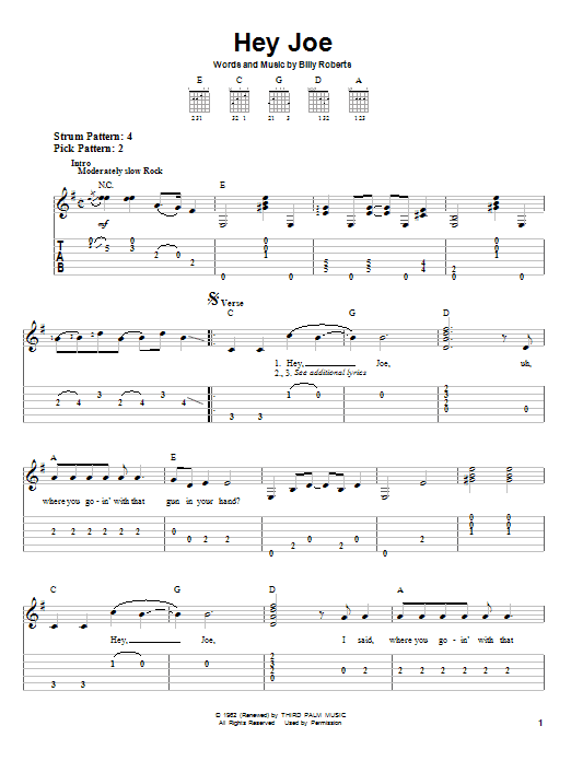 Tablature guitare Hey Joe de Jimi Hendrix - Tablature guitare facile
