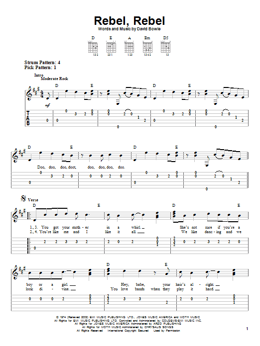 Tablature guitare Rebel, Rebel de David Bowie - Tablature guitare facile