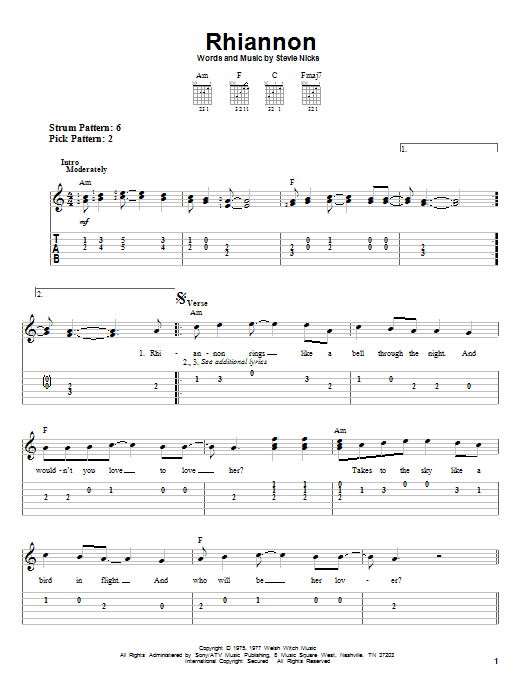 Tablature guitare Rhiannon de Fleetwood Mac - Tablature guitare facile