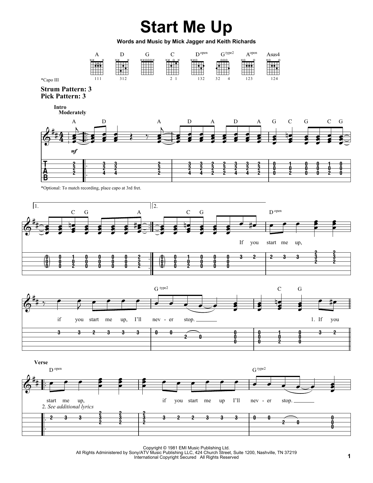 Tablature guitare Start Me Up de The Rolling Stones - Tablature guitare facile