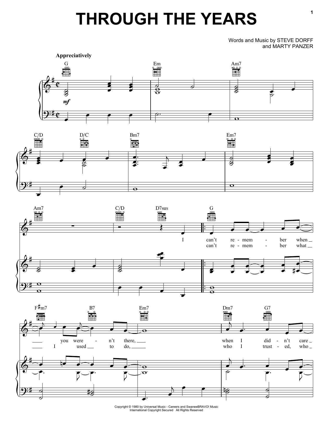 Through The Years sheet music for voice, piano or guitar by Marty Panzer