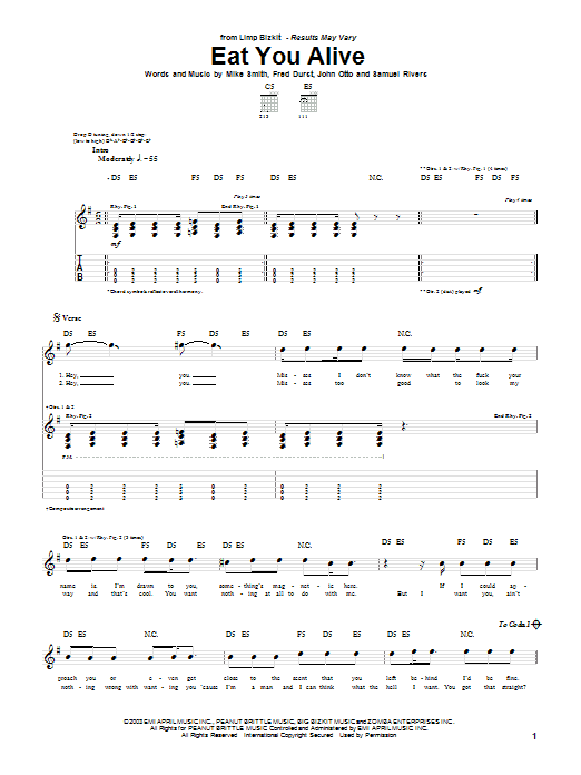 Tablature guitare Eat You Alive de Limp Bizkit - Tablature Guitare