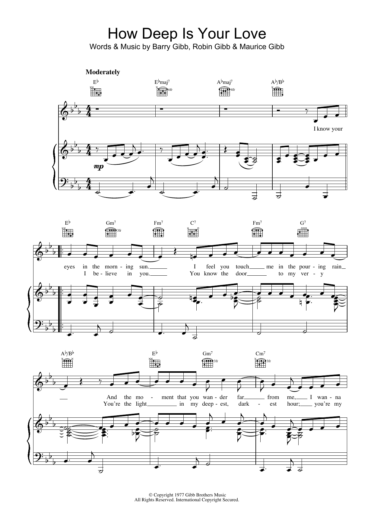 How Deep Is Your Love sheet music for voice, piano or guitar by Robin Gibb