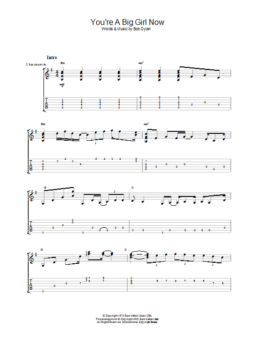 You're A Big Girl Now sheet music for guitar solo (tablature) by Bob Dylan