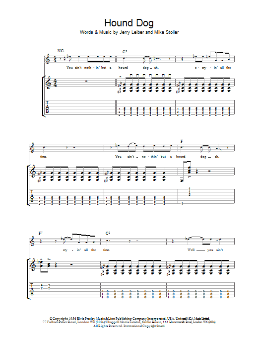 Hound Dog sheet music for guitar solo (tablature) by Mike Stoller