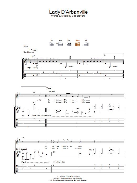 partition guitare lady d arbanville cat stevens