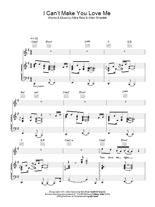 I Can't Make You Love Me sheet music for voice, piano or guitar by Mike Reid