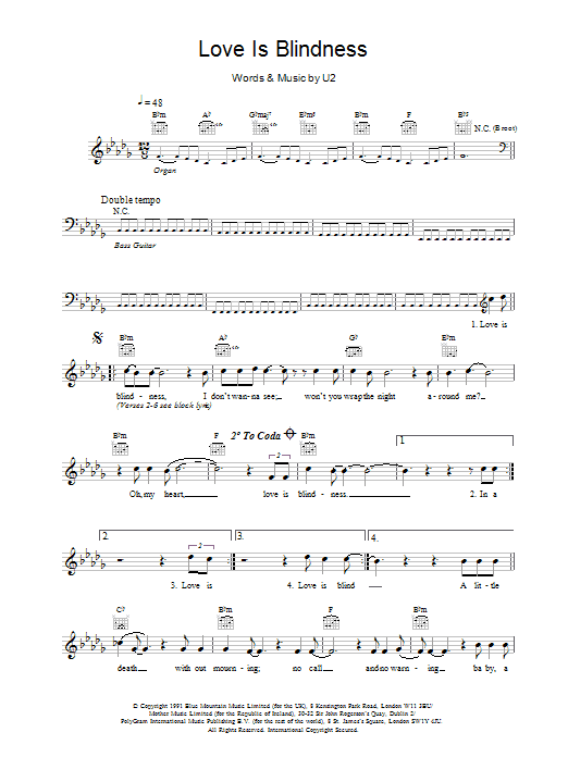 Love Is Blindness sheet music for voice and other instruments (fake book) by U2