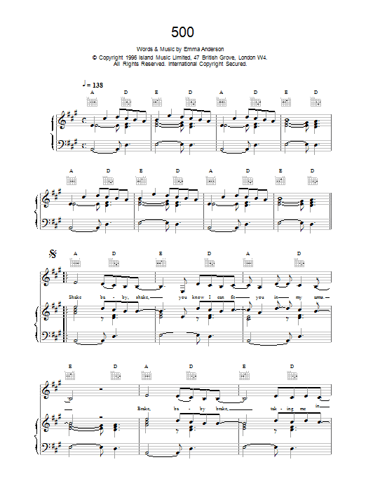 500 sheet music for voice, piano or guitar by Emma Anderson
