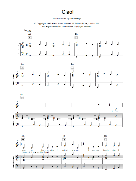 Ciao! sheet music for voice, piano or guitar by Emma Anderson