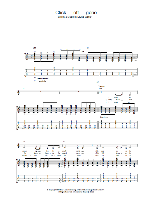 Click ... off ... gone sheet music for guitar solo (tablature) by Sleeper