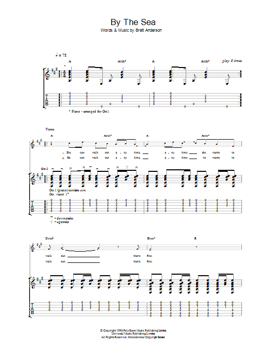 By The Sea sheet music for guitar solo (tablature) by Suede