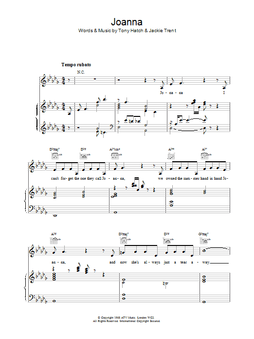 Joanna sheet music for voice, piano or guitar by Scott Walker