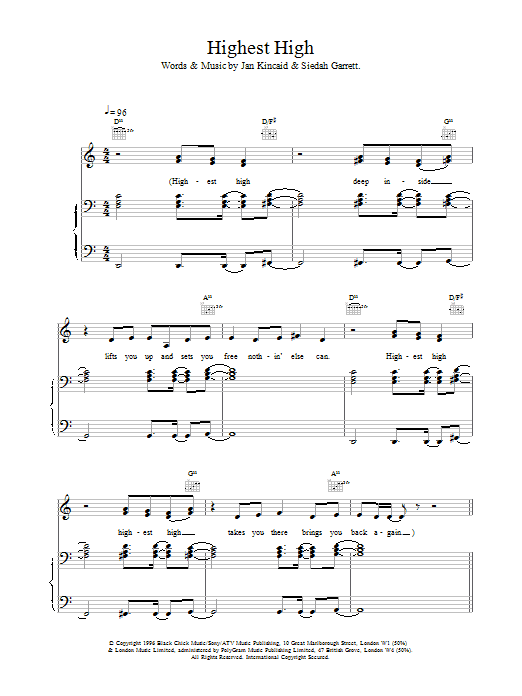 Highest High sheet music for voice, piano or guitar by Brand New Heavies