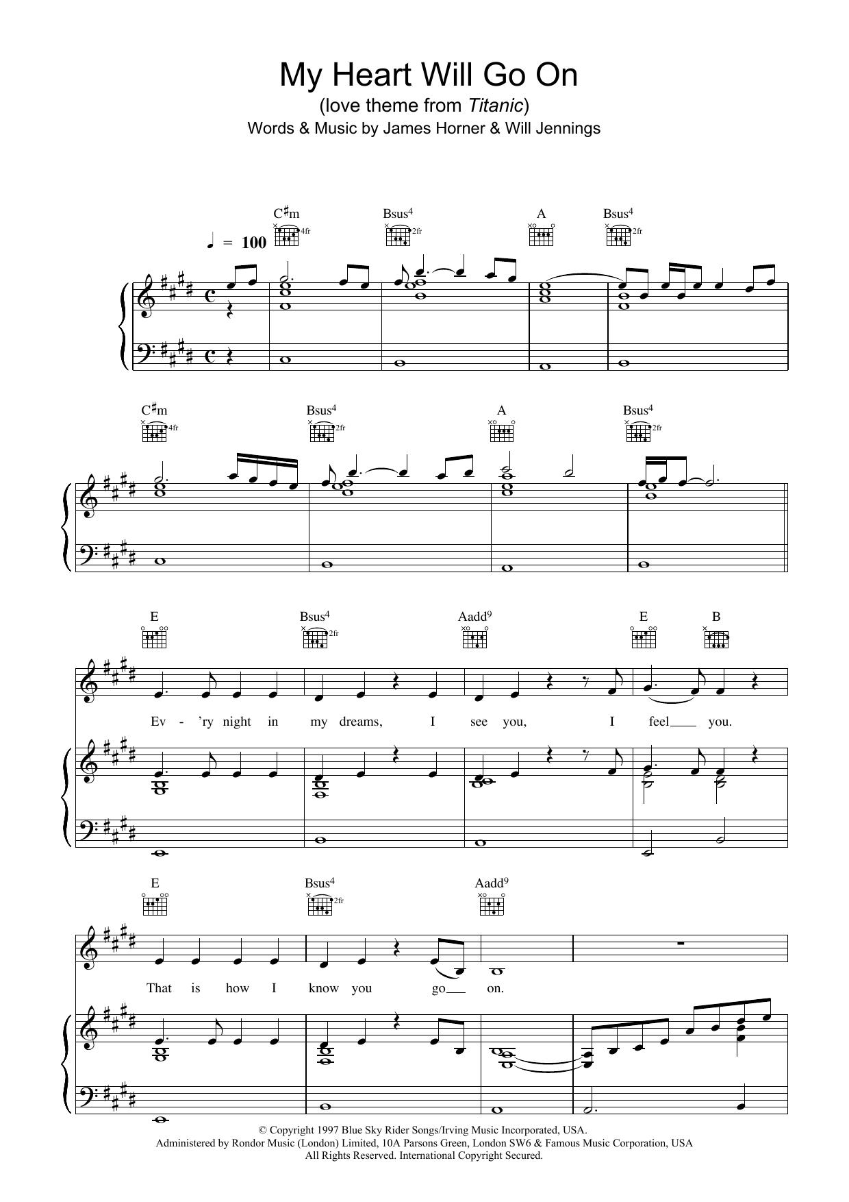 Piano tabs my heart will go on
