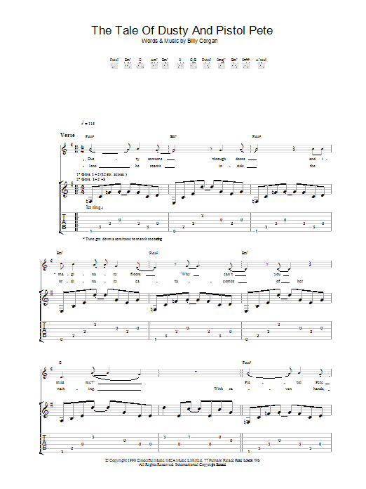 The Tale Of Dusty And Pistol Pete by The Smashing Pumpkins - Guitar Tab - Guitar Instructor