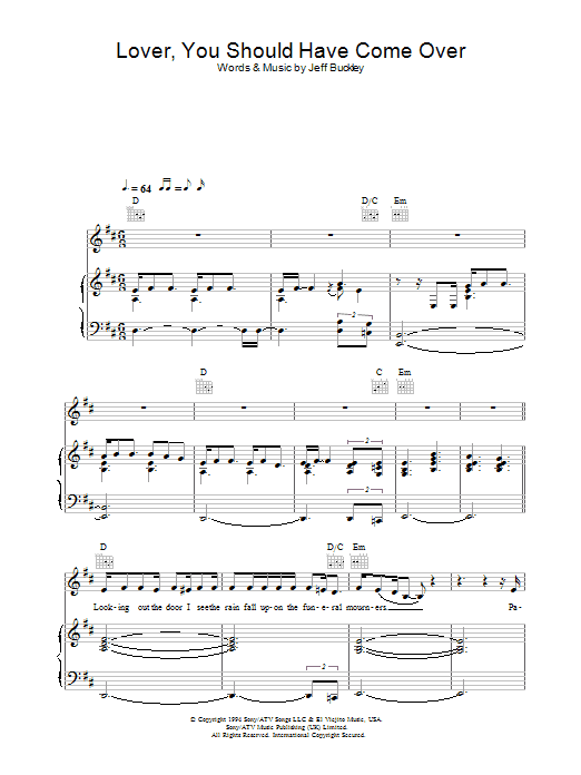 Lover, You Should Have Come Over sheet music for voice, piano or guitar by Jamie Cullum