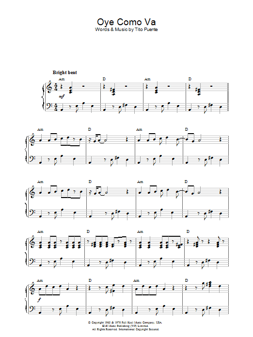 Oye Como Va sheet music for piano solo by Tito Puente