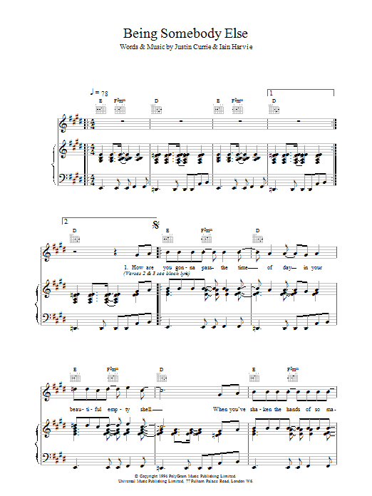 Being Somebody Else sheet music for voice, piano or guitar by Del Amitri