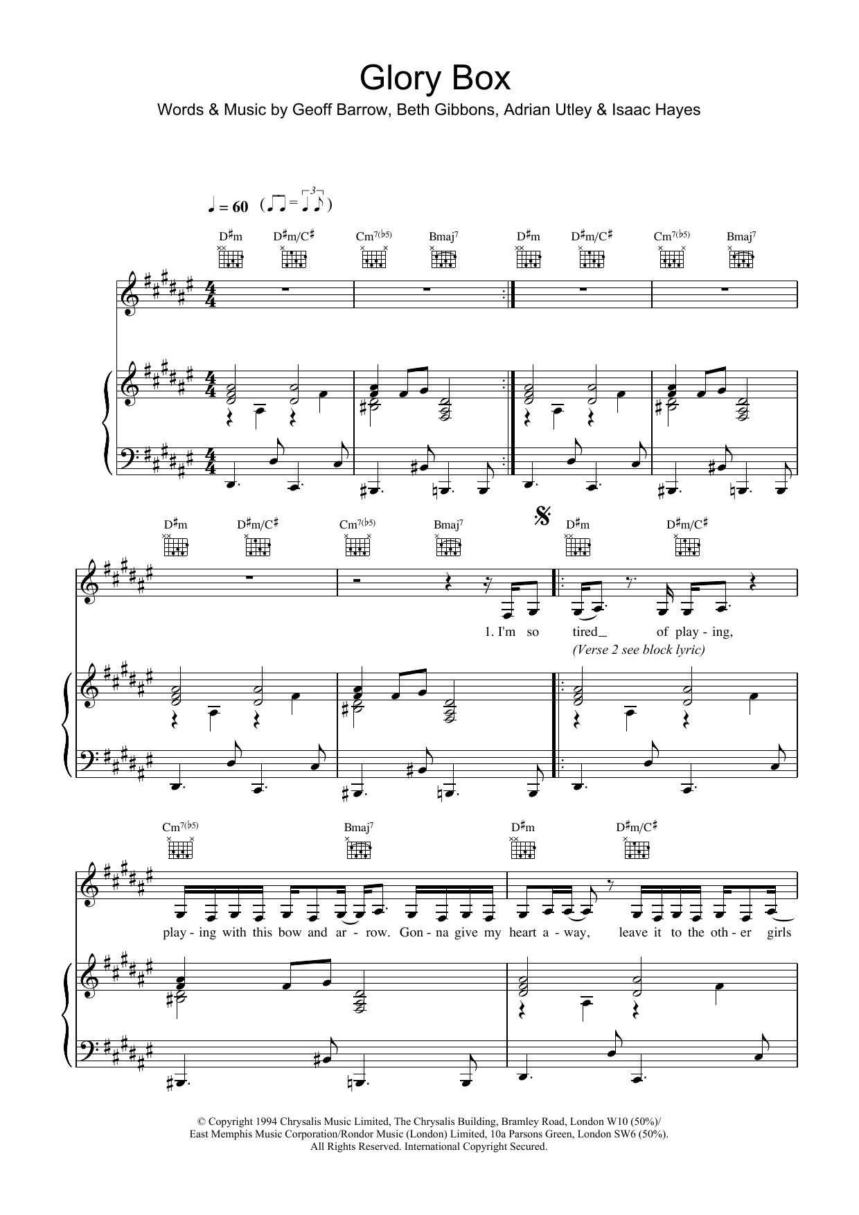 Glory Box sheet music for voice, piano or guitar by Portishead