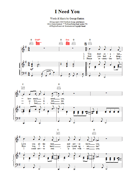 I Need You sheet music for voice, piano or guitar by The Beatles