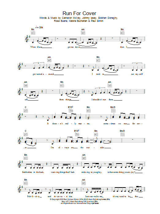 Run For Cover sheet music for voice and other instruments (fake book) by Sugababes