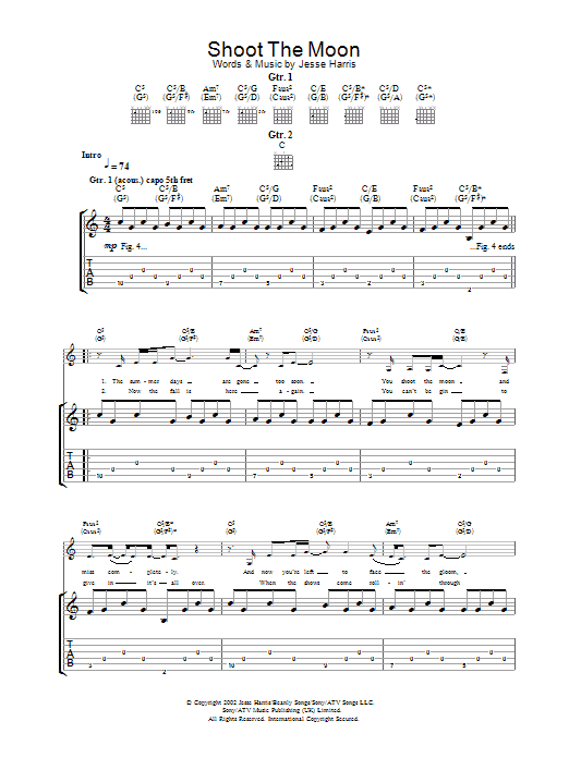 Shoot The Moon sheet music for guitar solo (tablature) by Norah Jones