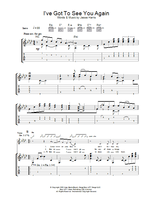 Iu0026#39;ve Got To See You Again by Norah Jones - Guitar Tab - Guitar Instructor