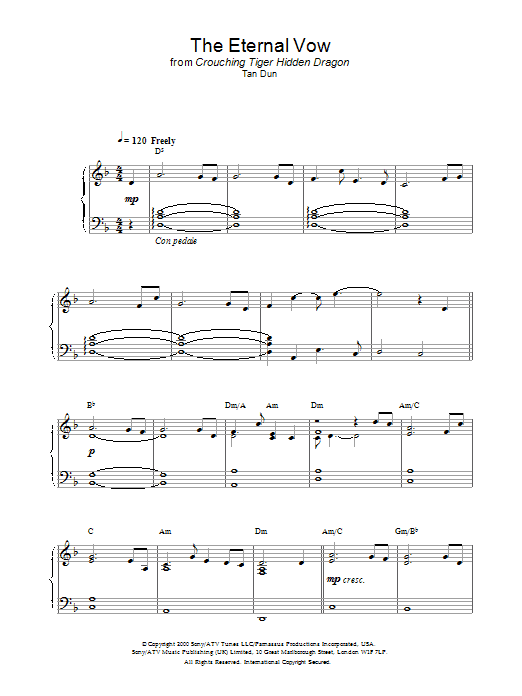 The Eternal Vow from Crouching Tiger, Hidden Dragon sheet music for piano solo by Crouching Tiger Hidden Dragon