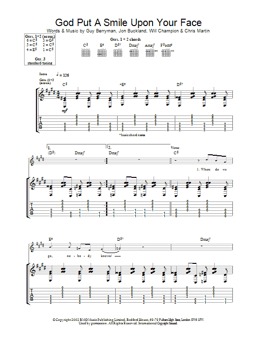 God Put A Smile Upon Your Face sheet music for guitar solo (tablature) by Coldplay