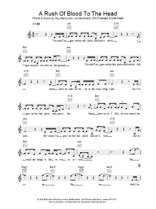 A Rush Of Blood To The Head sheet music for voice and other instruments (fake book) by Coldplay