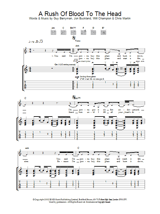 A Rush Of Blood To The Head sheet music for guitar solo (tablature) by Coldplay