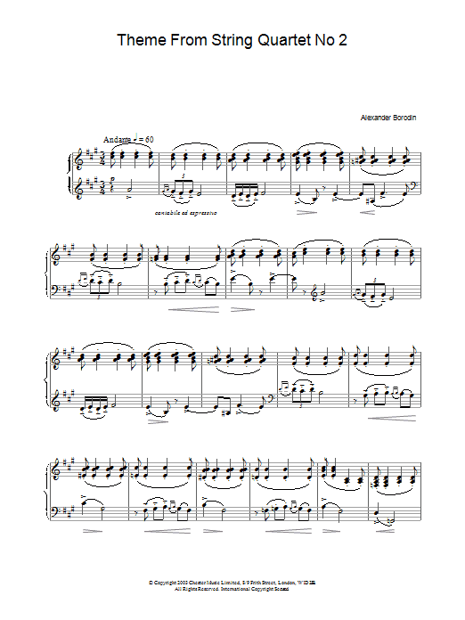 Theme From String Quartet No 2 sheet music for piano solo by Alexander Borodin