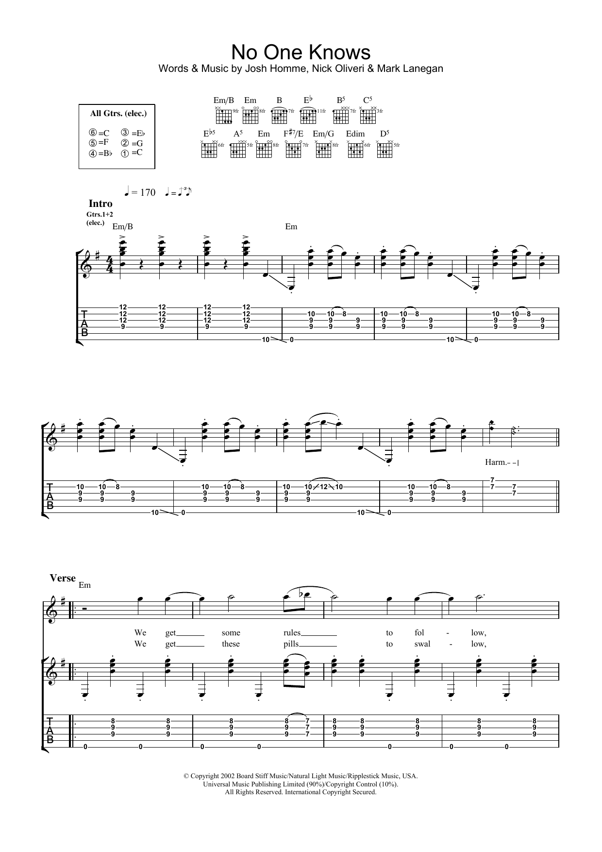 No One Knows sheet music for guitar solo (tablature) by Queens Of The Stone Age