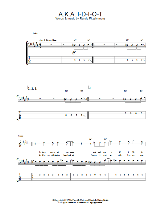 A.K.A. I-D-I-O-T sheet music for bass (tablature) (bass guitar) by The Hives