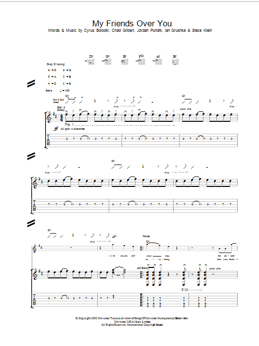 My Friends Over You sheet music for guitar solo (tablature) by New Found Glory